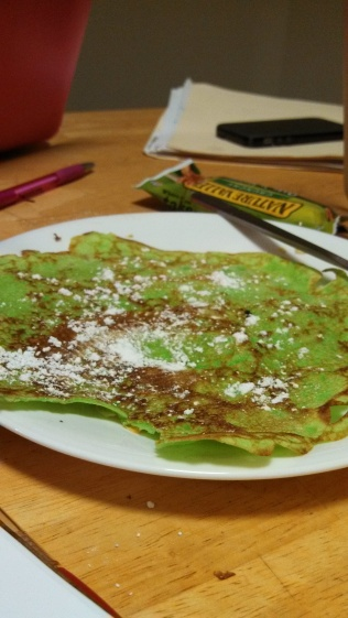 A flat crepe with pandan extract
