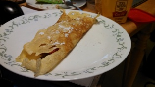 Folded crepe with nutella
