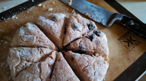 Scone dough, cut