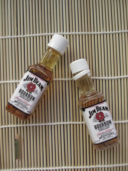 Look at the mini bourbon bottles!