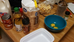 Ingredients and some popcorn snacks.